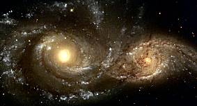 Hubble Telescope photo of two spiral galaxies