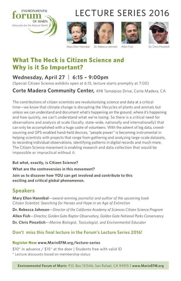 Environmental Forum of Marin lecture series April 27