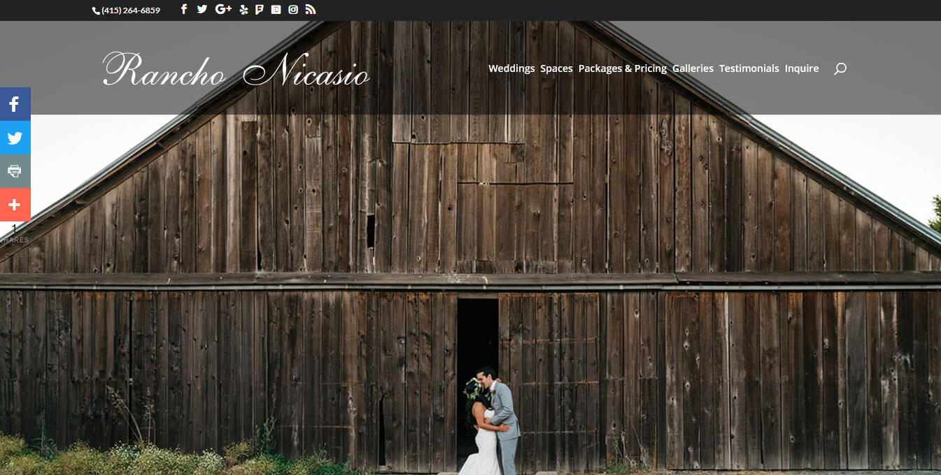 Rancho Nicasio Wedding Website