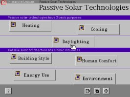 IPSE screen shot showing Passive Solar Technologies Menu